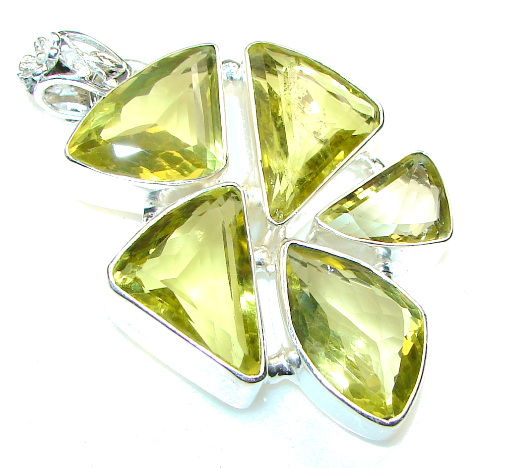 Big!! Summer Time!! Yellow Citrine Sterling Silver Pendant
