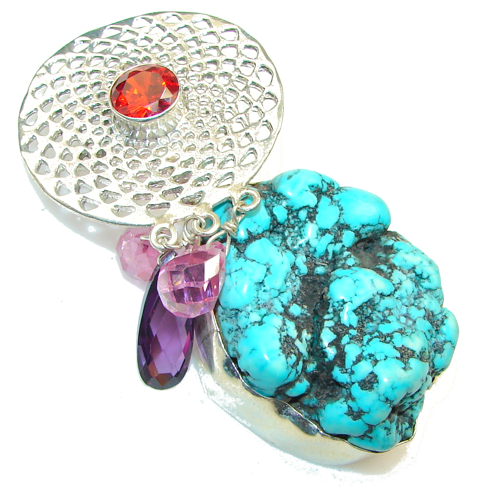 Big!! Classy Style! Blue Turquoise Sterling Silver Pendant