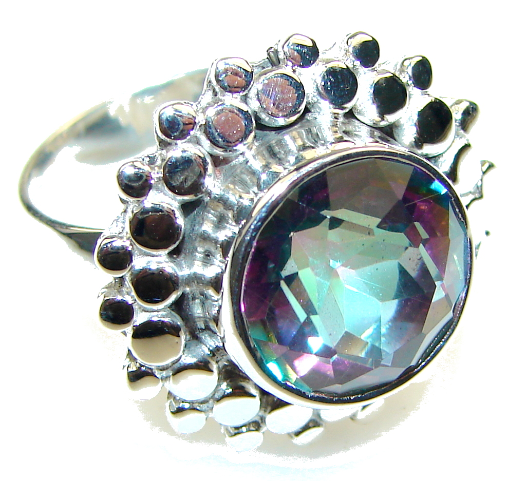 Image of Exotic Rainbow Magic Topaz Sterling Silver Ring s. 7