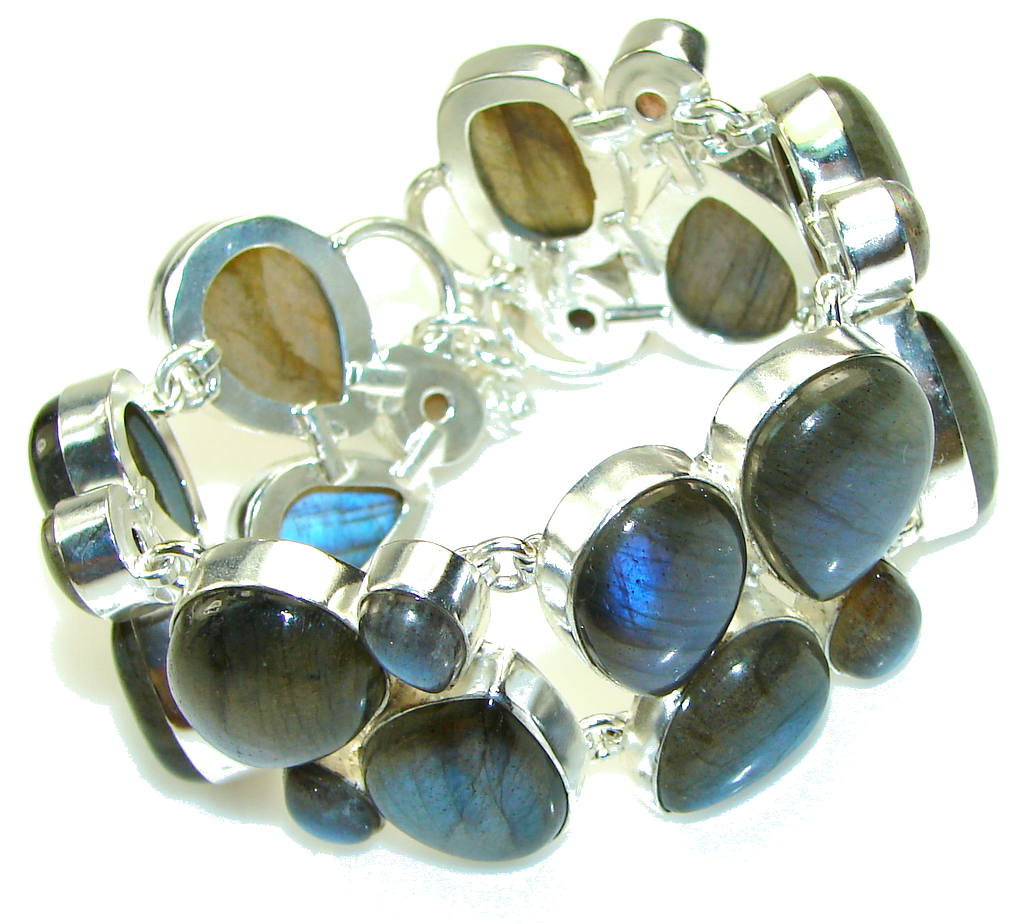 Exclusive Blue Fire Labradorite Sterling Silver Bracelet
