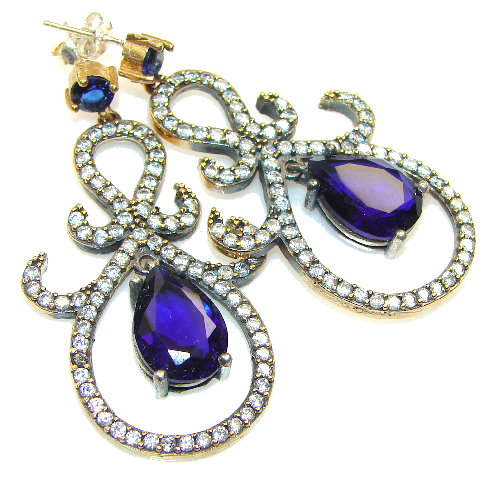 Royal Style! Blue Sapphire Quartz Sterling Silver earrings