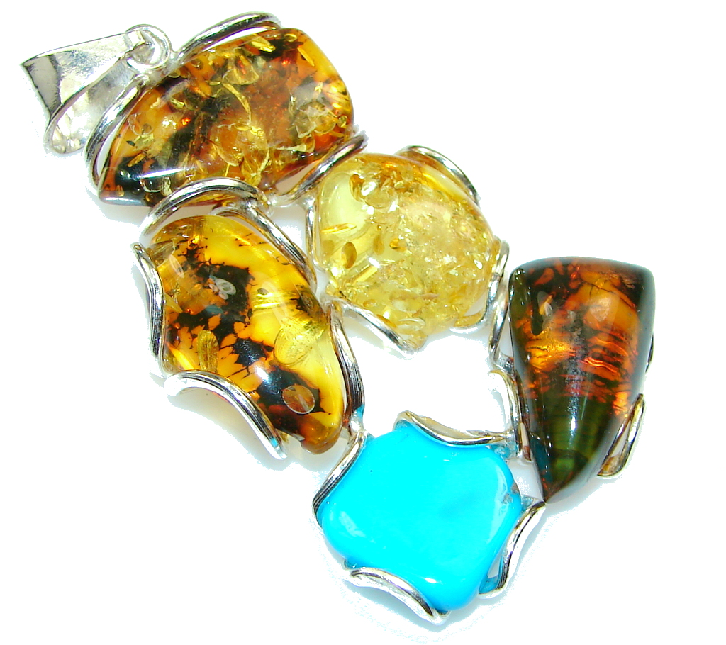 Stunning! Polish Amber , Turquoise Sterling Silver Pendant