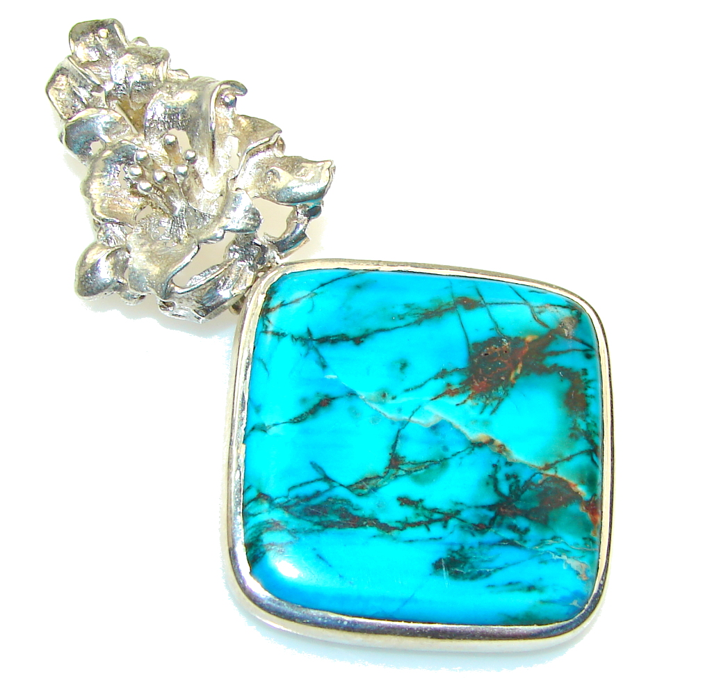 Clectric Blue Ithaca Peak Turquoise Sterling Silver Pendant