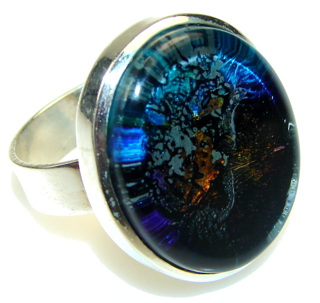 Secret!! Dichroic Glass Sterling Silver ring s. 12 1/2