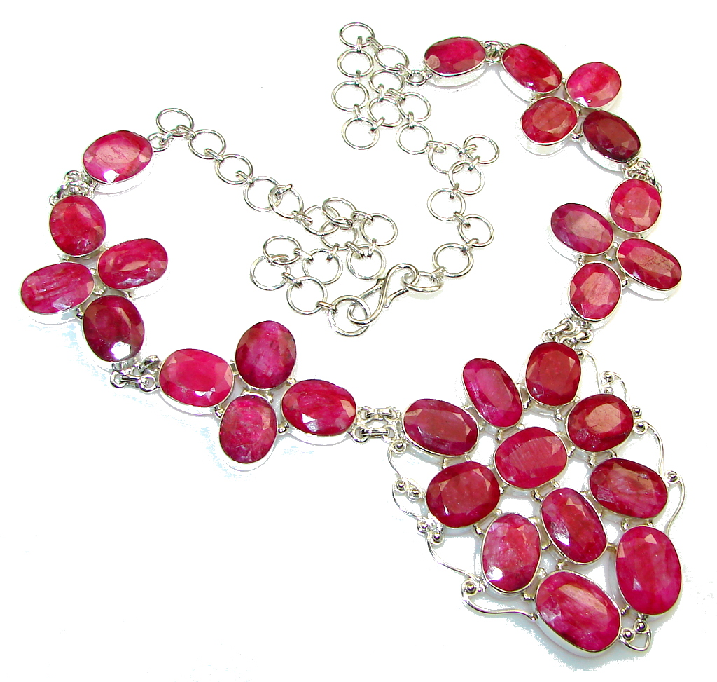 Natural Beauty!! Pink Ruby Sterling Silver necklace