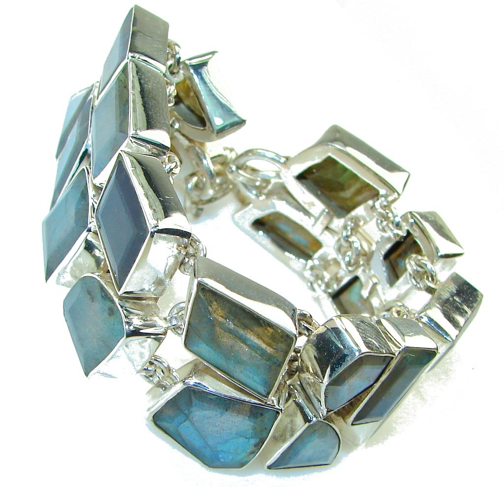 Awesome! Blue Fire Labradorite Sterling Silver Bracelet