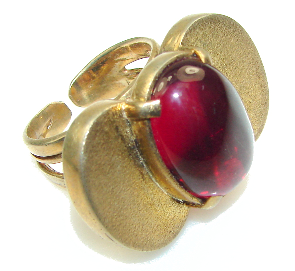 Amazing!! Raspberry Quartz, Gold Plated Sterling Silver ring s. 8 1/4