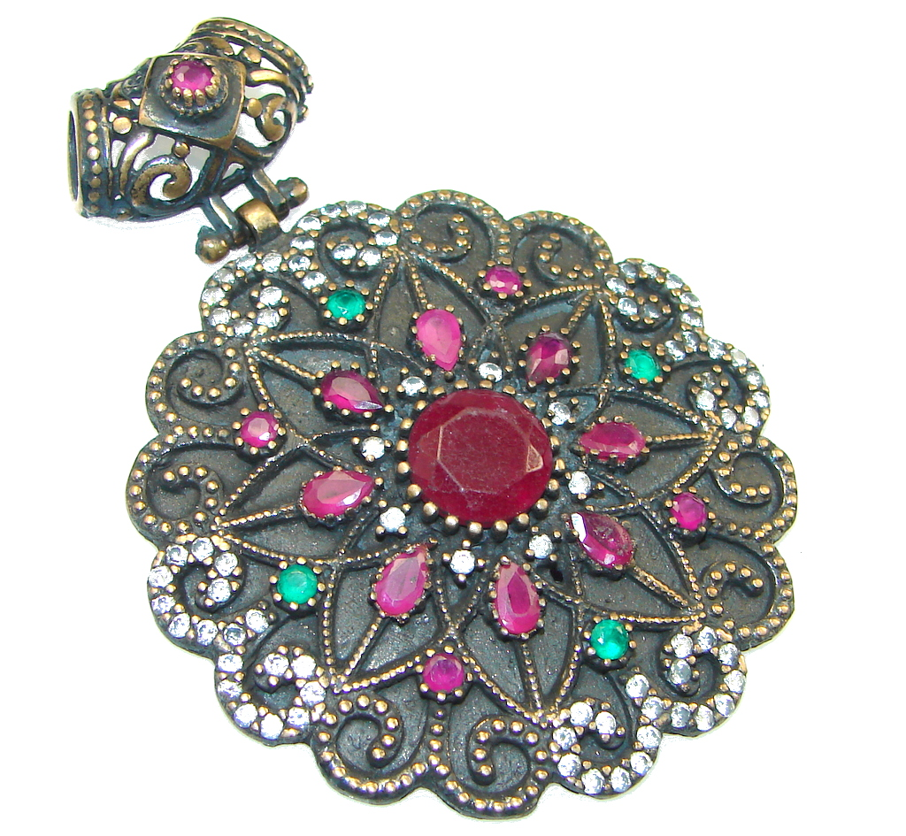 Bold Victorian Design! Pink Ruby Sterling Silver Pendant