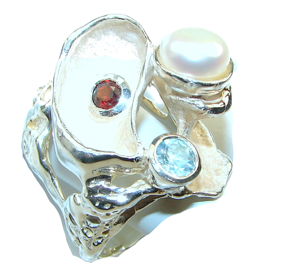 Amazing Design Of Fresh Water Pearl Italy Made Sterling Silver ring s. 8