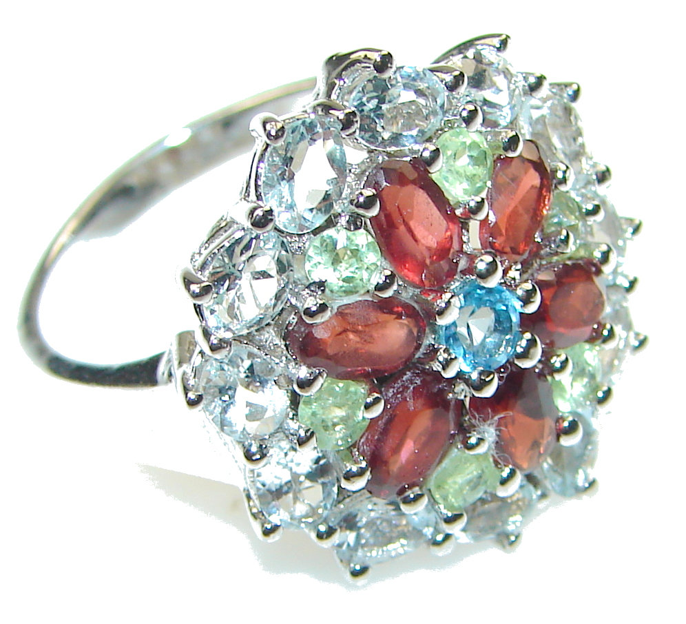 Precious!! Red Garnet Sterling Silver Ring s. 8