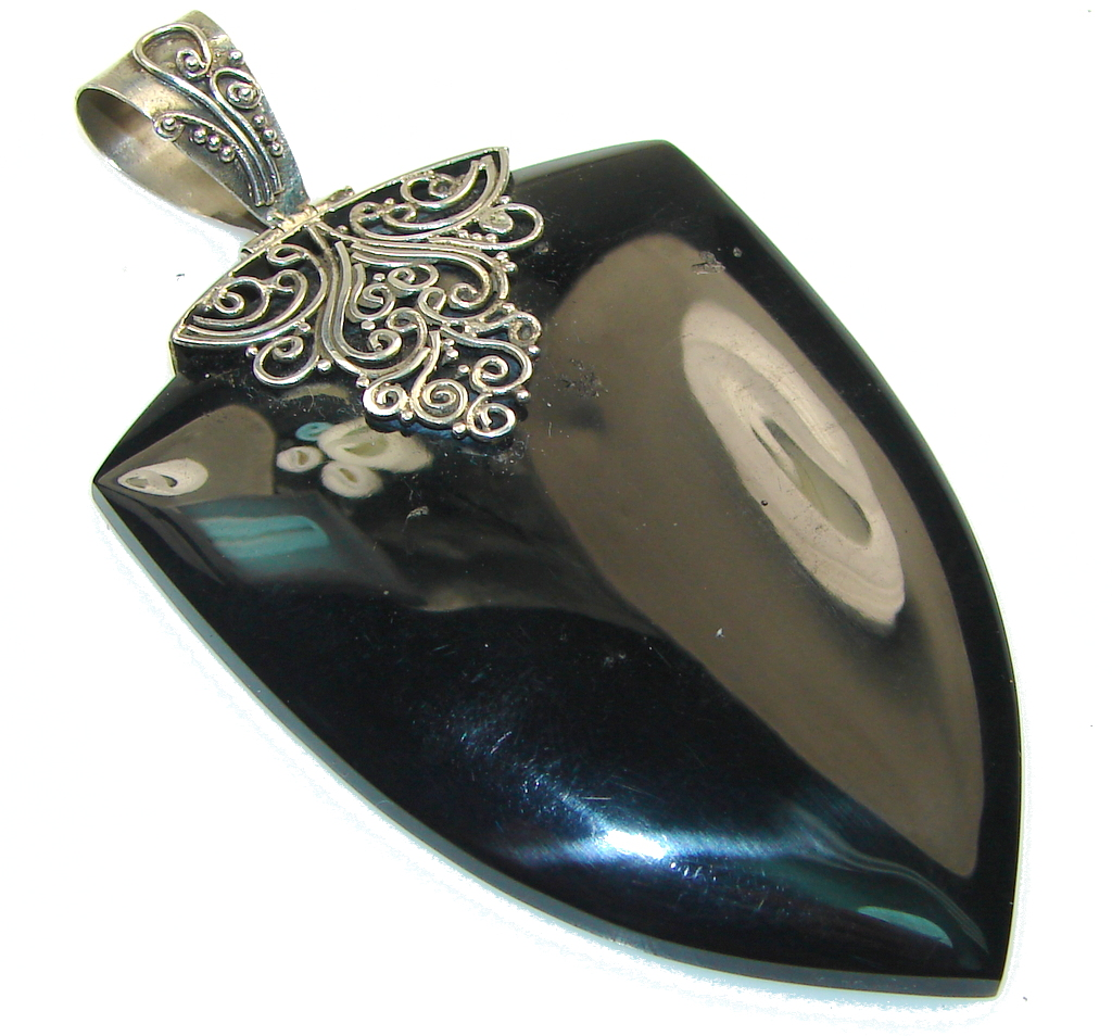 Big! Amazing!! Black Onyx Sterling Silver Pendant