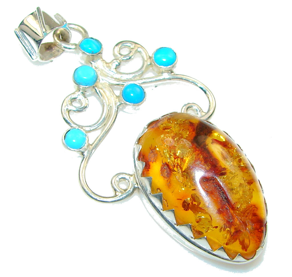 Natural!! Polish Amber , Turquoise Sterling Silver Pendant