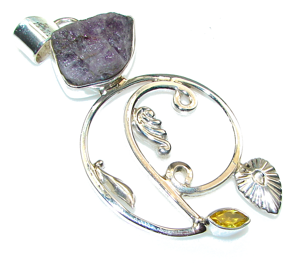 Stylish Design Amethyst Cluster Sterling Silver Pendant