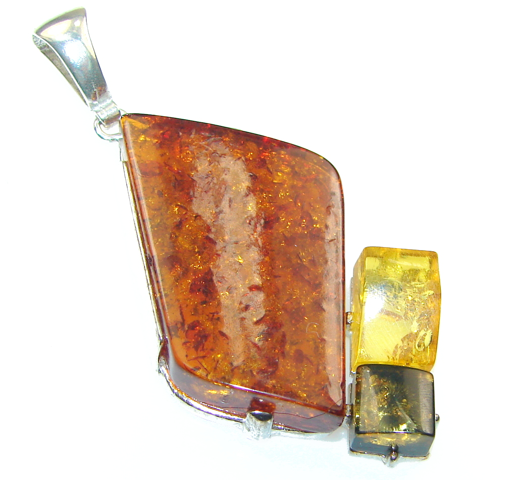 Amazing! Multicolor Polish Amber Sterling Silver Pendant
