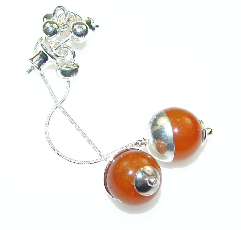 Stylish!! Polish Amber Sterling Silver earrings / Long