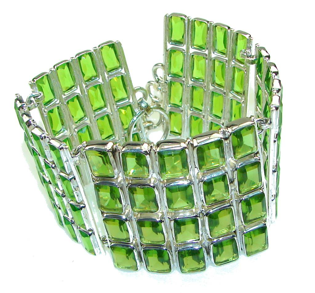 Chunky created Green Emerald Sterling Silver Bracelet