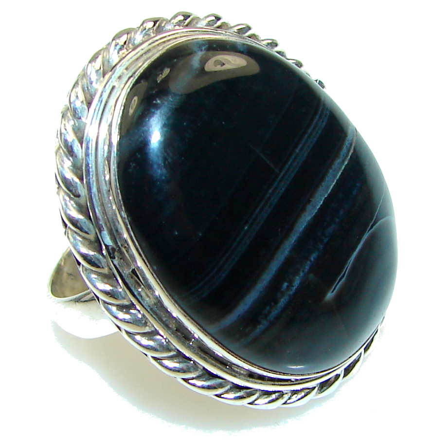 Fantastic! Black Onyx Sterling Silver Ring s. 10