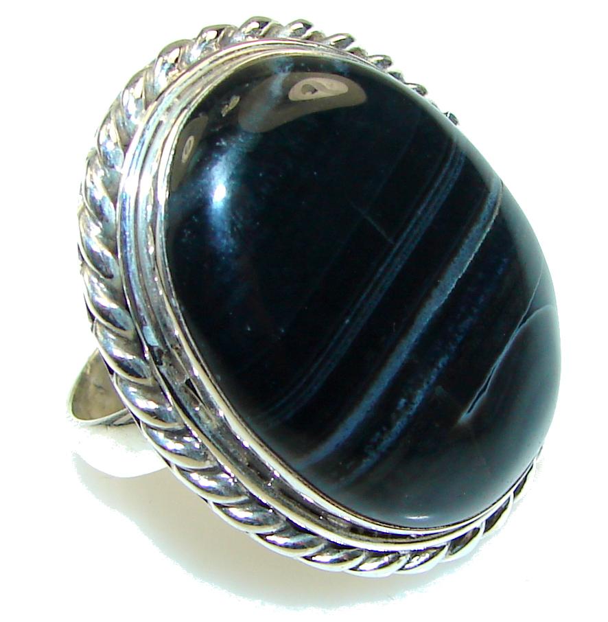 Fantastic! Black Onyx Sterling Silver Ring s. 10