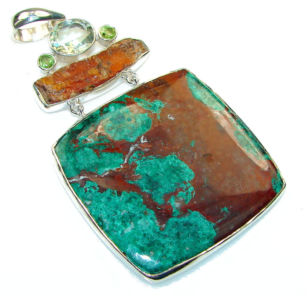 Big! Exclusive!! Azurite Chrysocolla Sterling Silver Pendant