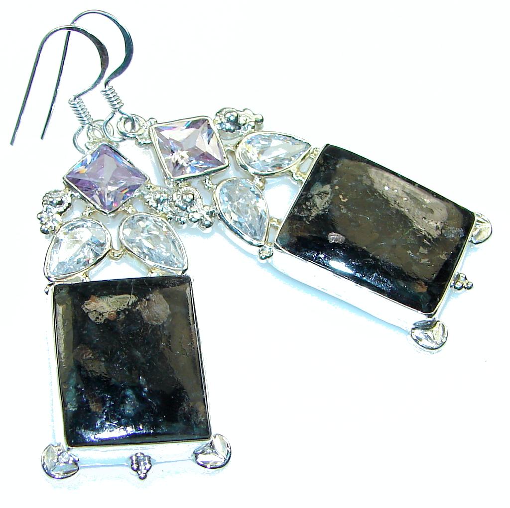 Fantastic!! Black Obsidian Sterling Silver earrings