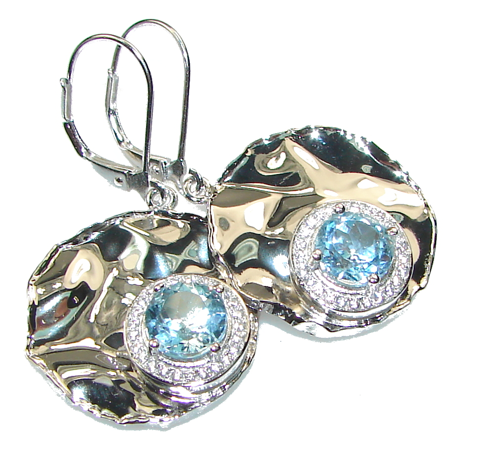 Image of Amazing!! Blue Topaz, White Topaz Sterling Silver earrings