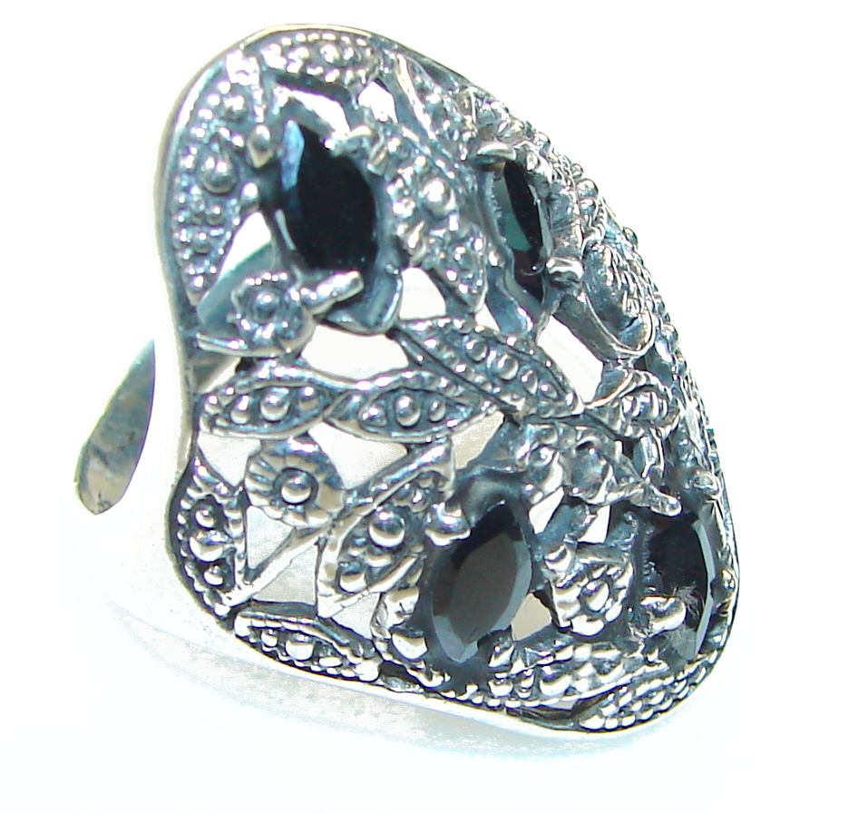 Very Unusual Hematite Sterling Silver Ring s. 6 1/2