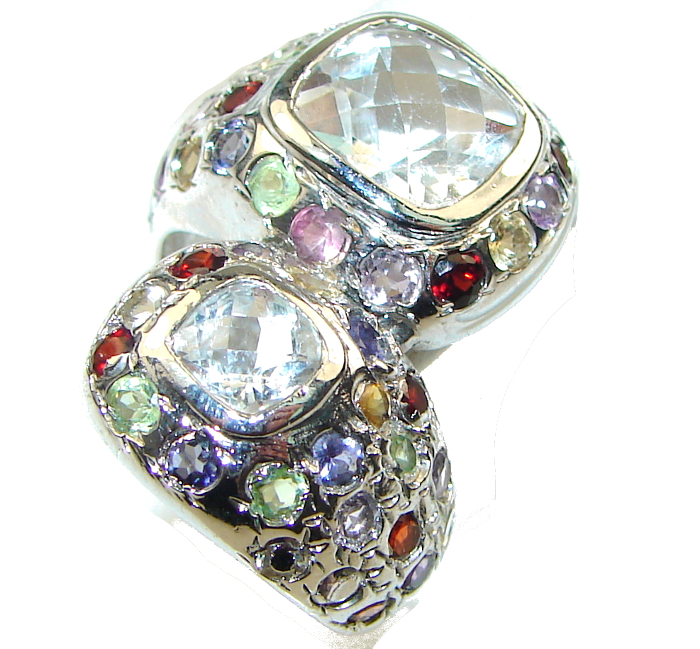 Amazing Design!! White Topaz Sterling Silver Ring s. 8 1/2