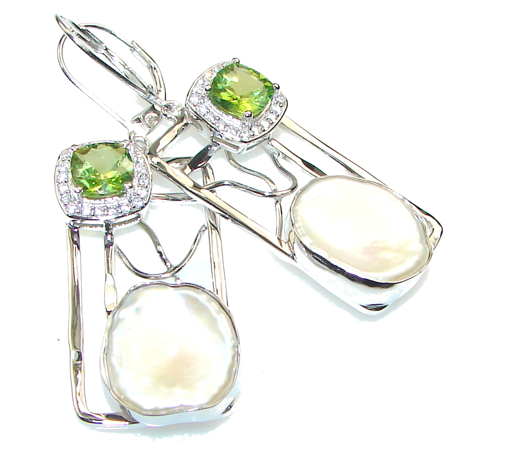 Green Island! Green Peridot Sterling Silver earrings