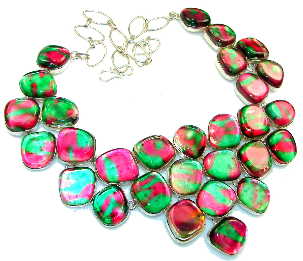Huge! Stylish Multicolor Dichroid Glass Sterling Silver necklace