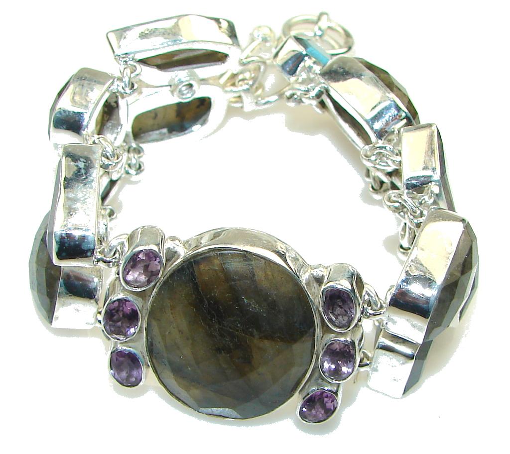 Natural! Blue Fire Labradorite Sterling Silver Bracelet