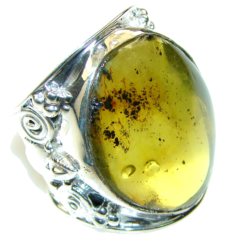Big! Natural Green Polish Amber Sterling Silver Ring s. 9