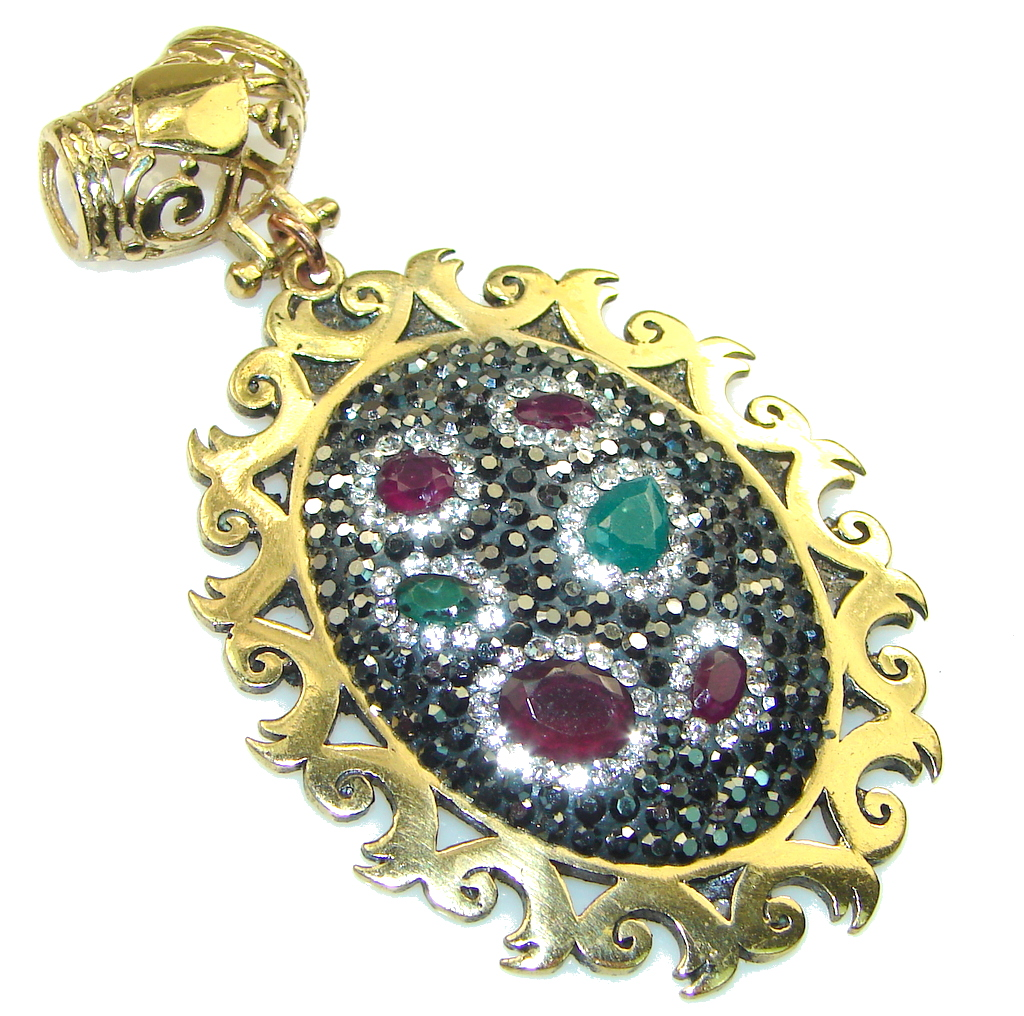 New Design! Red Ruby, Green Emerald Sterling Silver Pendant