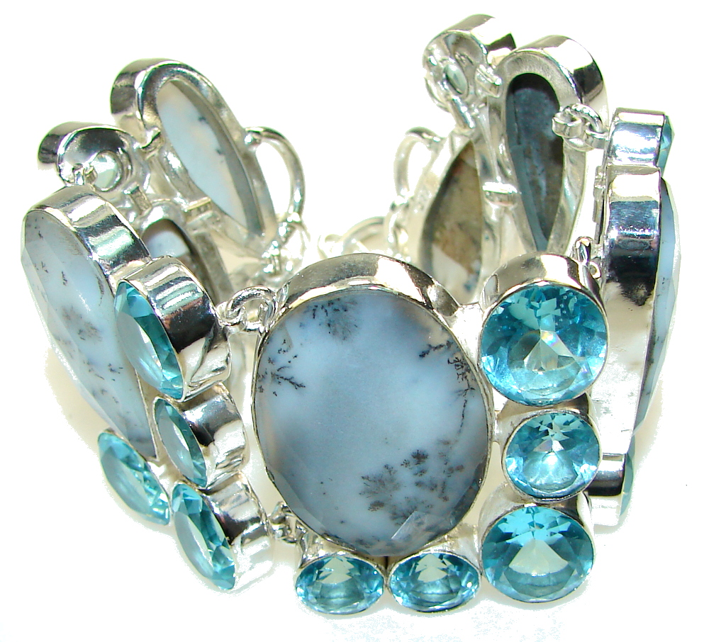 Beautiful!! White Dendritic Agate Sterling Silver Bracelet