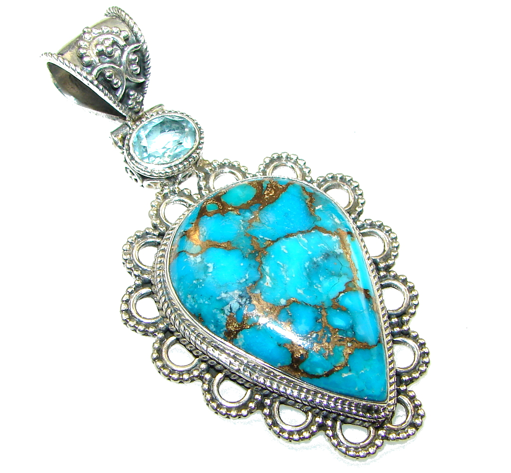 Sky Garland!! Copper Turquoise Sterling Silver Pendant