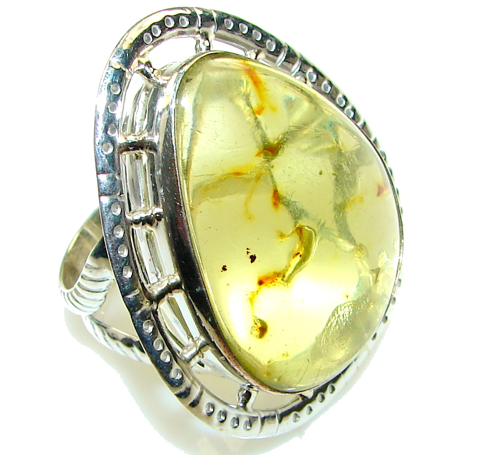 Big! Natural Green Polish Amber Sterling Silver Ring s. 11 1/2