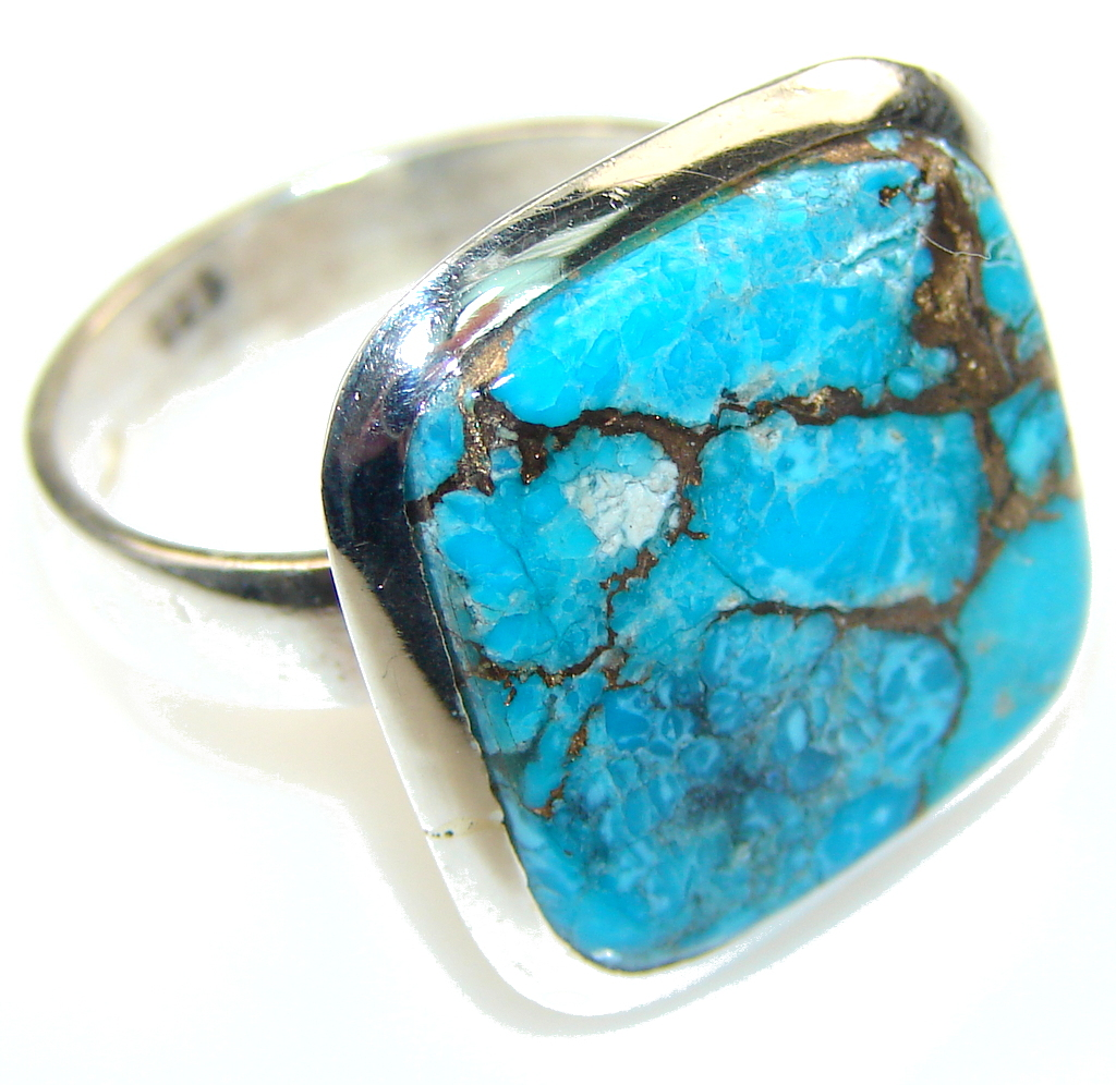 Brazilian Sea!! Copper Turquoise Sterling Silver Ring s. 9