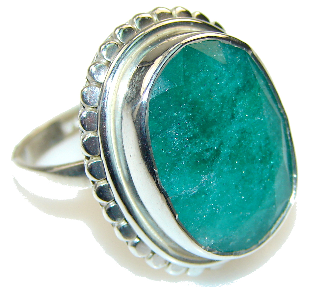 Simple! Green Emerald Sterling Silver ring s. 7 1/4