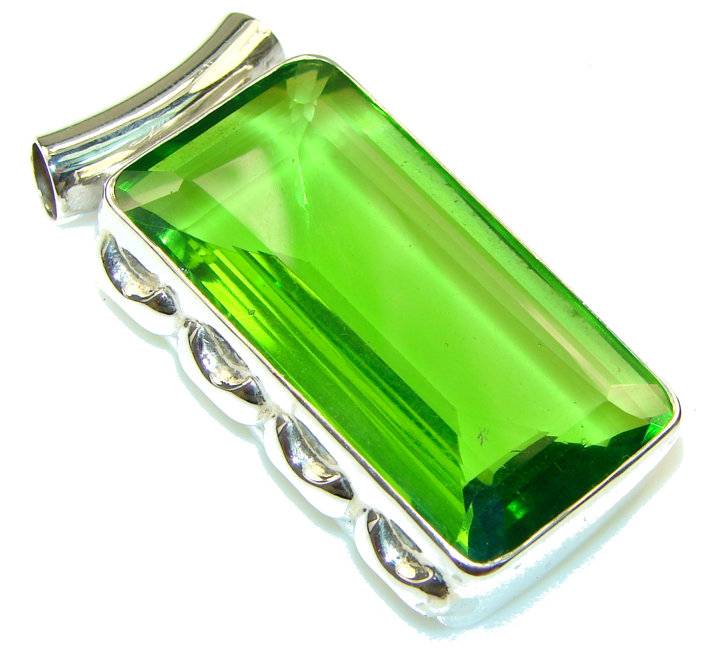 Fresh!! Created Green Peridot Sterling Silver Pendant