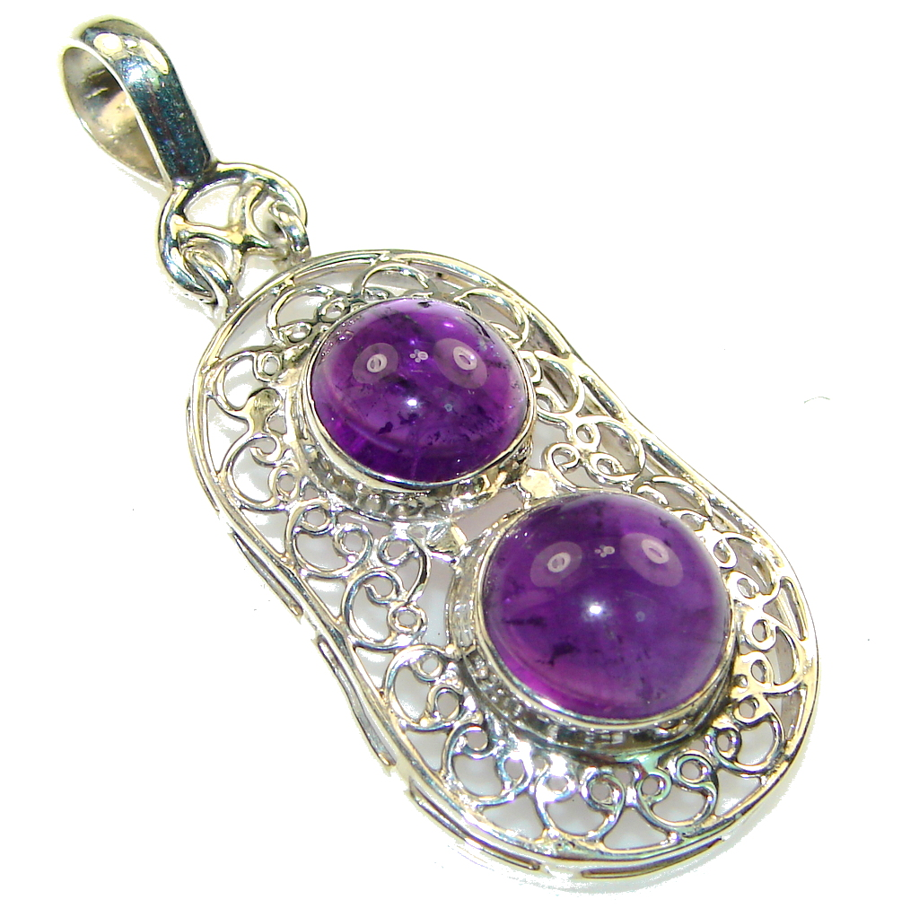 Amazing! Purple Amethyst Sterling Silver Pendant