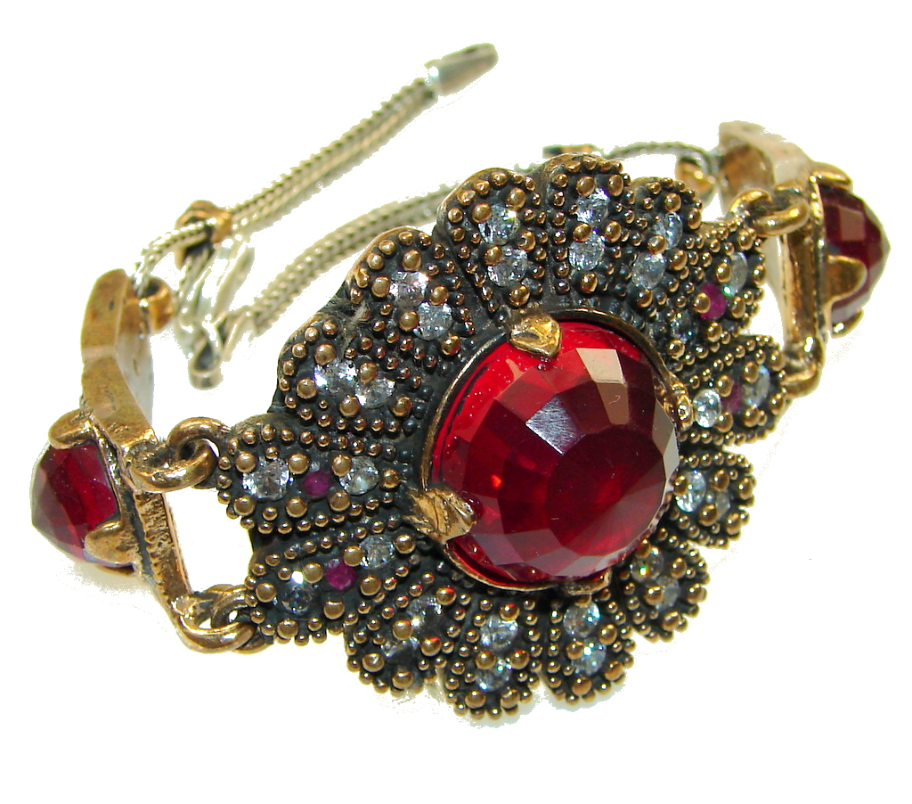 Turkish Style!! Garnet Quartz Sterling Silver Bracelet