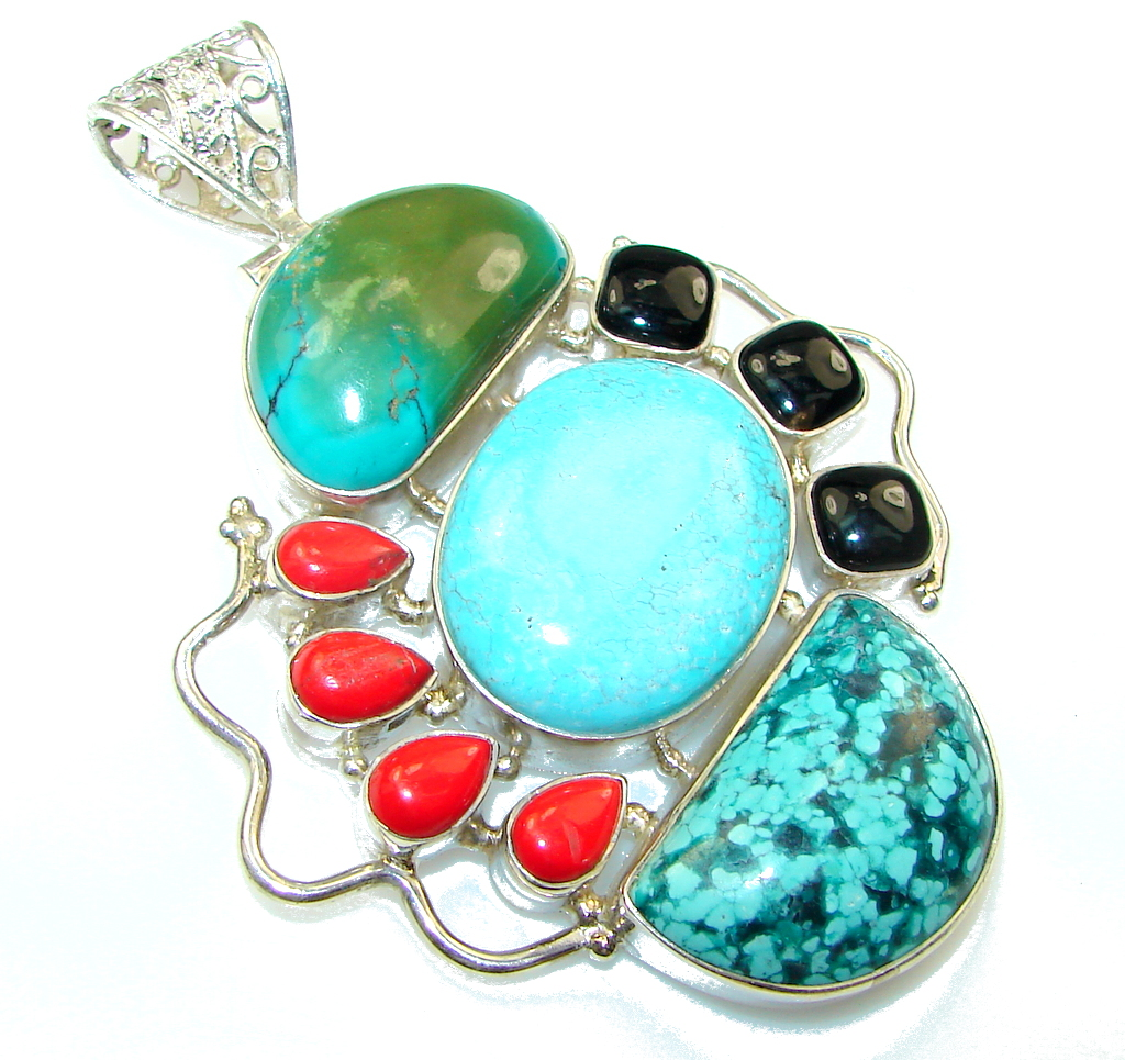 Large!! Fashion Turquoise Sterling Silver Pendant