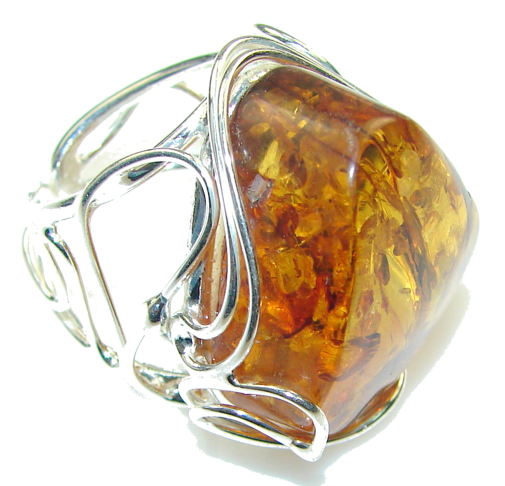 Big! Natural! Brown Polish Amber Sterling Silver Ring s. 8- Adjustable