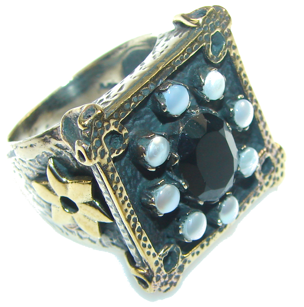 Classic Design! Black Onyx Sterling Silver Ring s. 9