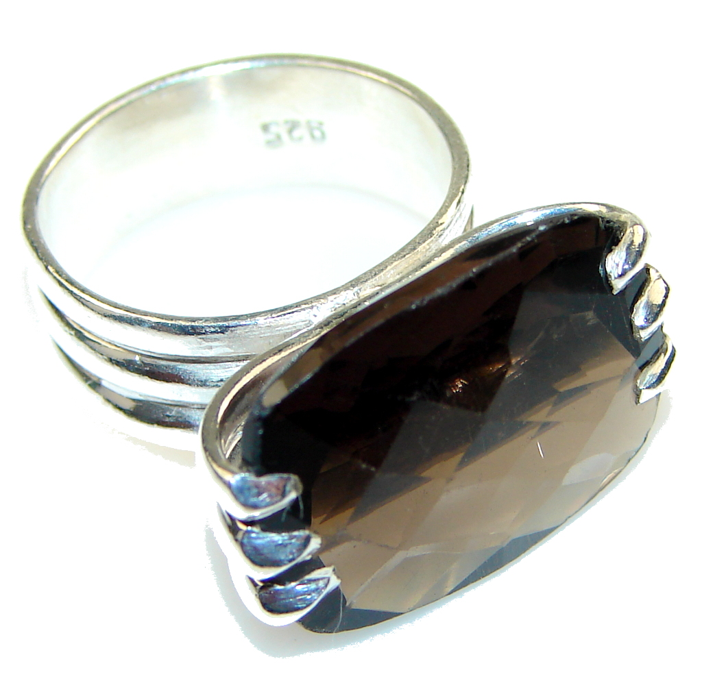 Amazing Smoky Topaz Sterling Silver ring s. 7