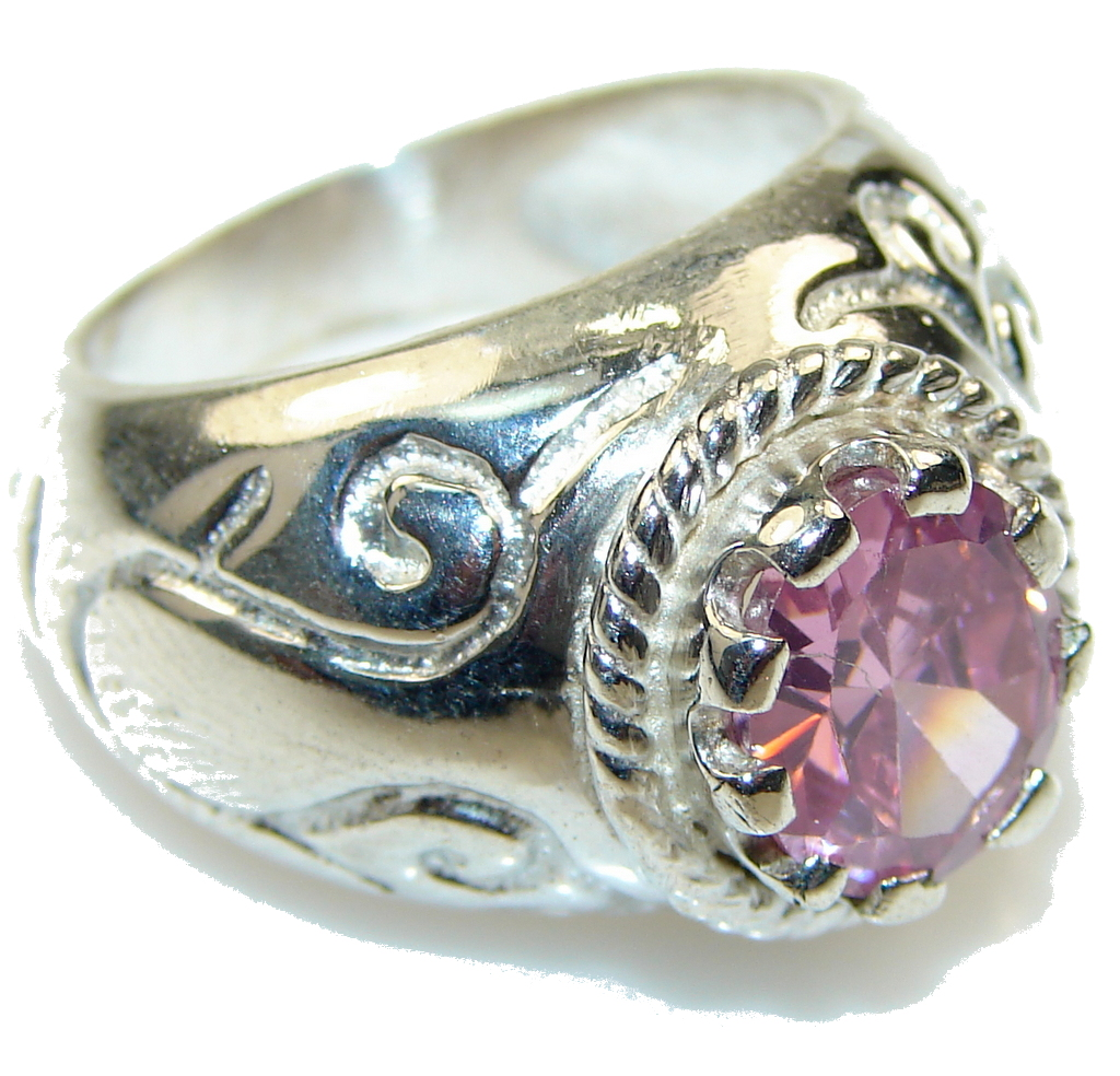 Baby Pink Topaz Sterling Silver ring; size 7