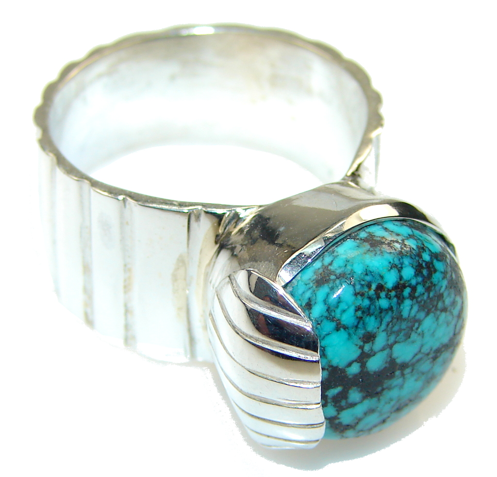 Basics!! Blue Turquoise Sterling Silver Ring s. 9