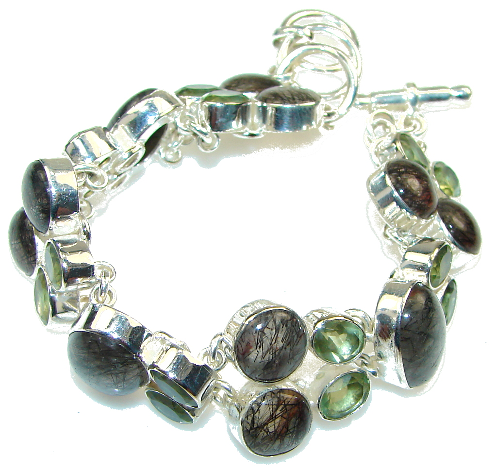 Stylish!!! Black Tourmalinated Quartz Sterling Silver Bracelet