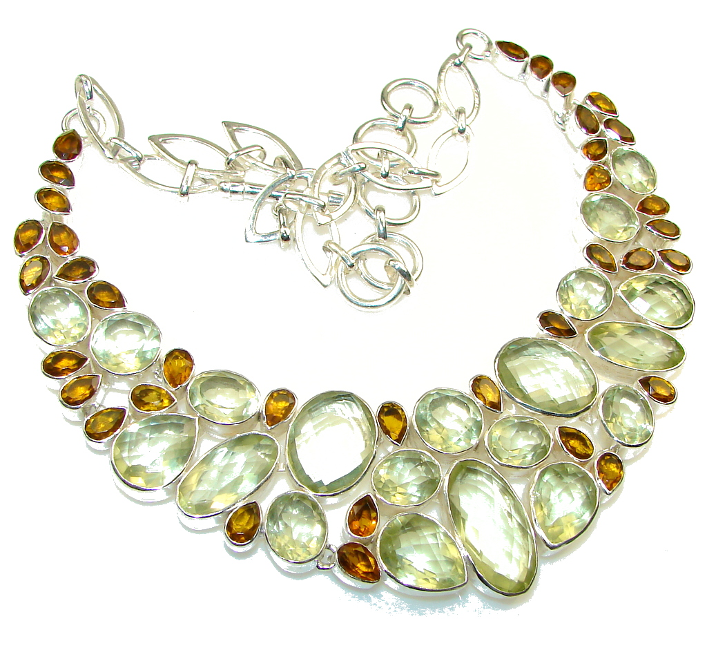 Bohemian  Style Chunky  Yellow Citrine Sterling Silver Necklace