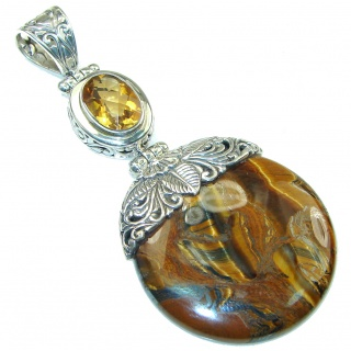 Bali Collection Golden Tigers Eyes Golden Topaz Sterling Silver Pendant