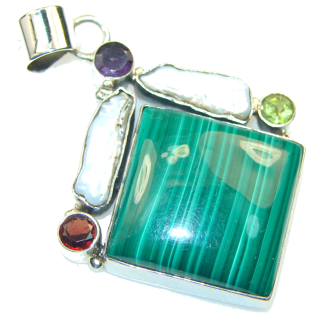 Beautiful!! Green Malachite Sterling Silver Pendant